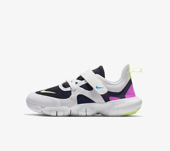 Nike Free RN 5.0 Little Kids' show black pink and white with green and Velcro strap
