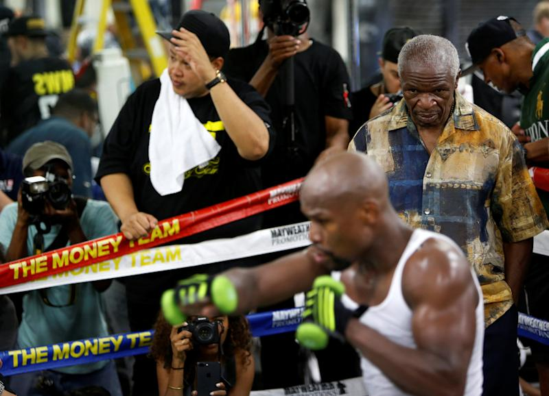 If Conor McGregor fights dirty when he steps in the ring against Floyd Mayweather Jr., expect a lawsuit from Floyd Mayweather Sr. (Reuters)