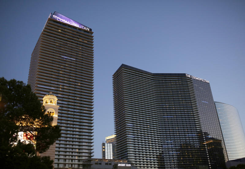 FILE - This July 1, 2018 file photo shows The Cosmopolitan in Las Vegas. The Las Vegas Strip hotel-casino is denying that O.J. Simpson was defamed in November 2017 when employees banned him from the property and a celebrity news site reported the paroled former football hero and armed robbery inmate had been drunk, disruptive and unruly. The Cosmopolitan of Las Vegas rejects Simpson's argument that his reputation was damaged by unnamed hotel staff member accounts cited in a TMZ report saying he was prohibited from returning after visits to a steakhouse and cocktail lounge. (AP Photo/John Locher, File)