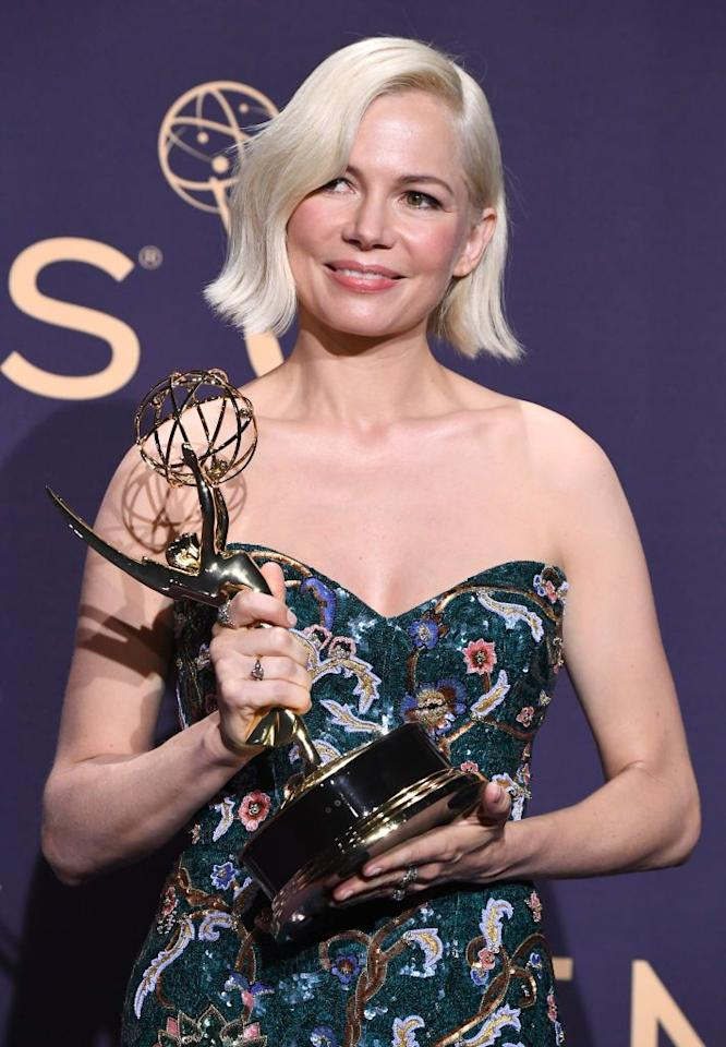 "<p>This ultra white shade Michelle Williams is sporting takes platinum blonde to the next level. The almost silver hair color is trending all over Instagram as of late (blame Daenerys Targaryen). Make sure you grab some<a href=""https://www.goodhousekeeping.com/beauty/g26817422/best-purple-shampoos/"" target=""_blank""> purple shampoo to maintain this icy hue</a>.</p>"