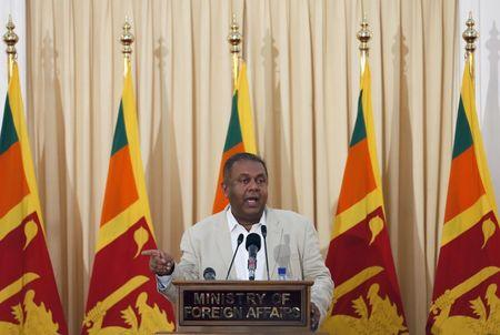 Samaraweera speaks during a news conference in Colombo