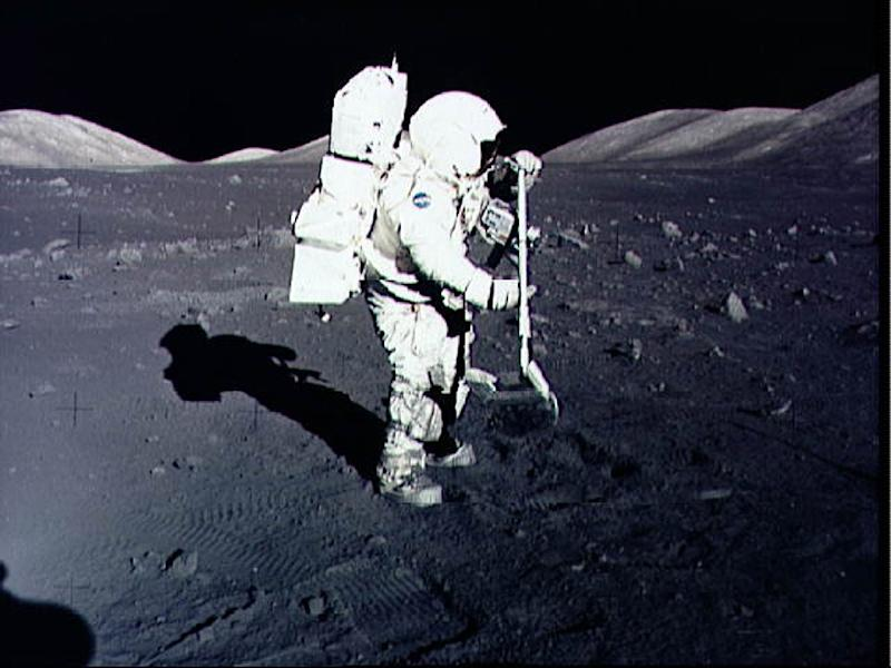 Astronaut Harrison Schmitt collects samples on the Moon during the Apollo 17 mission in December 1972 -- president Richard Nixon gave moon rocks from that mission and Apollo 11 to each of the world's nations and all US states as a token of goodwill