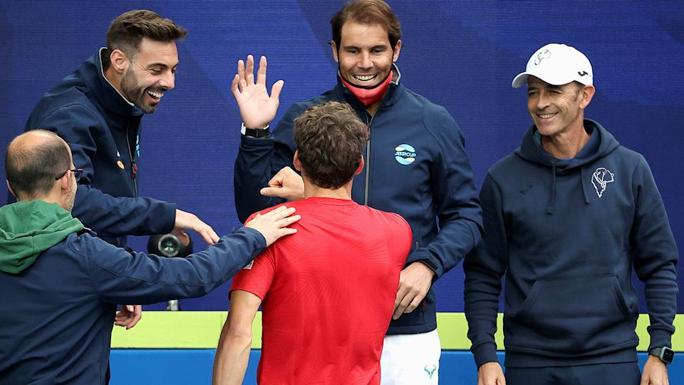 Rafael Nadal, pictured here celebrating with teammates at the ATP Cup.