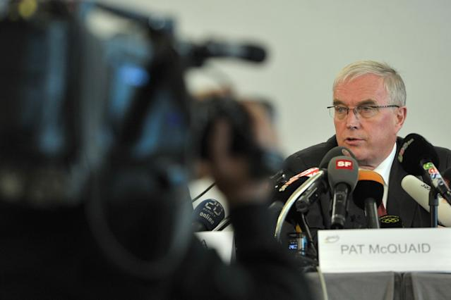 GENEVA, SWITZERLAND - OCTOBER 22: UCI President Pat McQuaid informs media representatives on the UCI position concerning the USADA decision on the Armstrong case on October 22, 2012 in Geneva Switzerland. Cyclist Lance Armstrong has been banned for life and stripped of his Tour de France titles having been accused of leading 'the most sophisticated, professionalized and successful doping program that sport has ever seen' according to USADA officials. (Photo by Harold Cunningham/Getty Images)