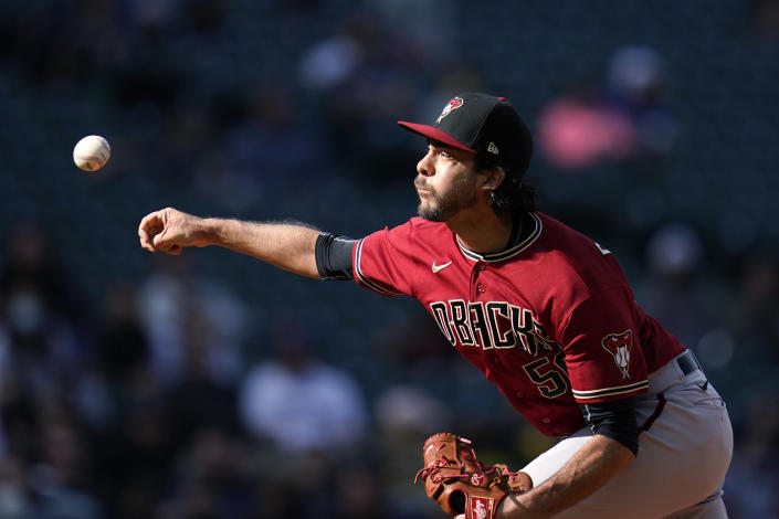 Arizona Diamondbacks relief pitcher Noe Ramirez throws against the Seattle Mariners in the eighth inning of a baseball game Sunday, Sept. 12, 2021, in Seattle. (AP Photo/Elaine Thompson)