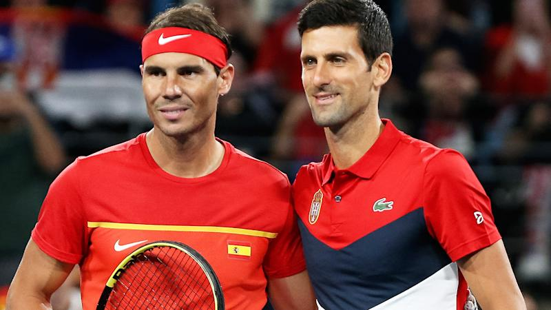 Rafael Nadal and Novak Djokovic, pictured here ahead of their ATP Cup clash.