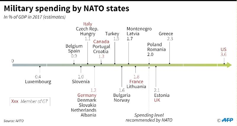 Comparison of defence spending by NATO members (AFP Photo/Gillian HANDYSIDE)