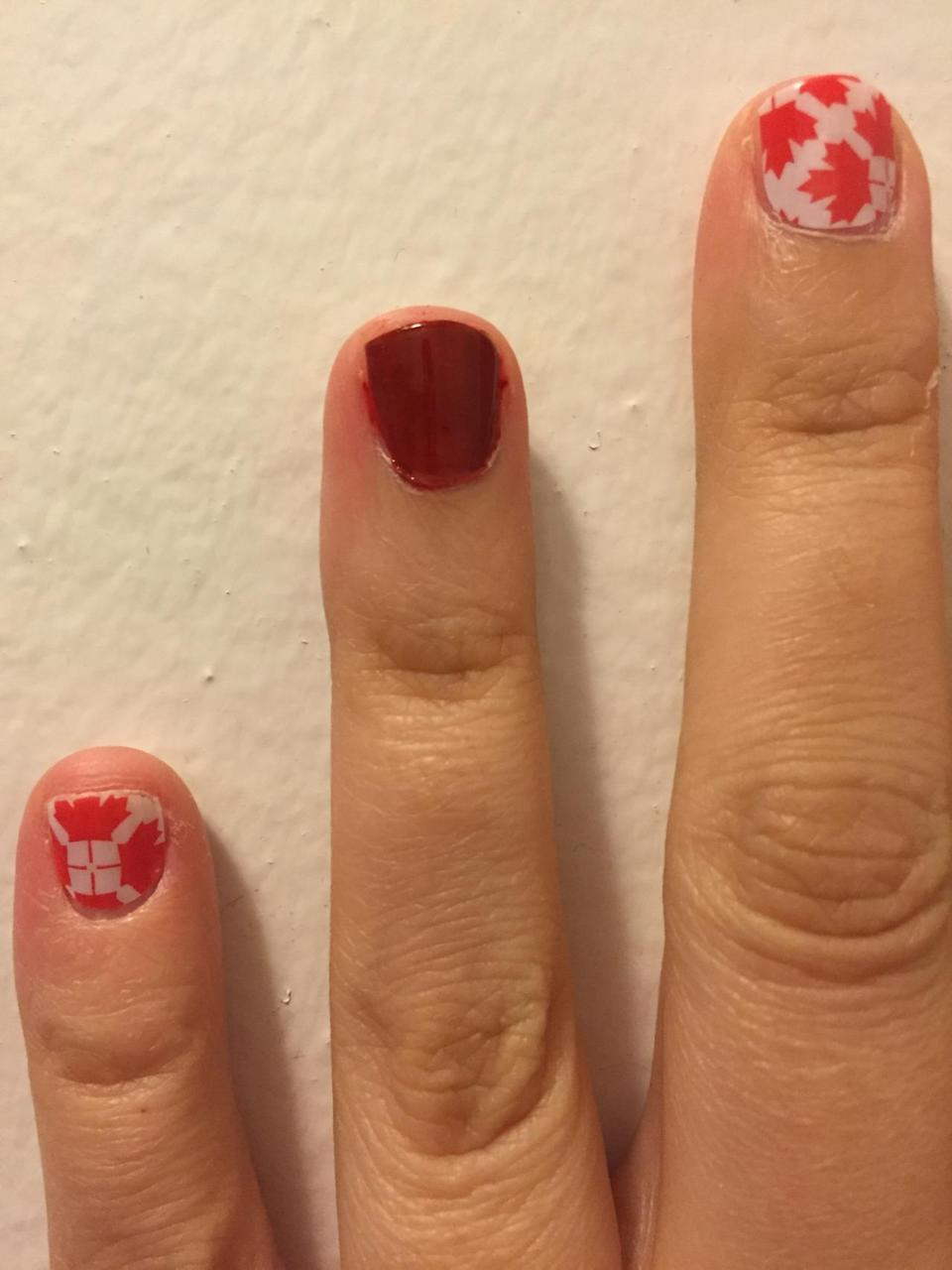 """<p>From the makers of shellac, CND offers a 7-day chip-resistant polish that doesn't require heat lamps or salon application and removal. For the trial, we applied two coats of """"Brick Knit"""" followed by the top coat. <i>($12 each)</i></p>"""