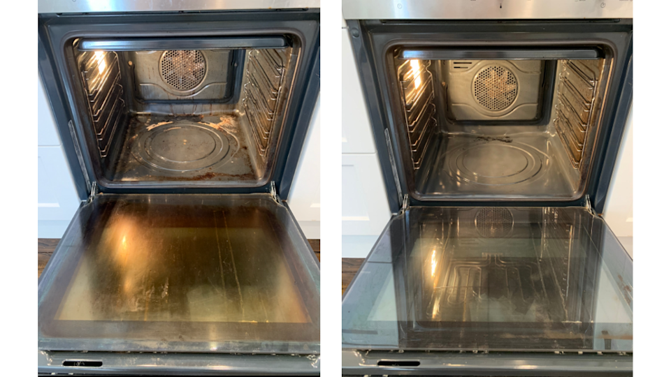 dirty and clean oven after using Scrub daddy and the pink stuff