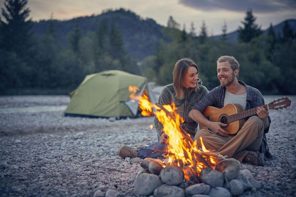 <p>Get in touch with your outdoorsy side by taking a camping trip. Cook out over a bonfire, snuggle up in cozy sleeping bags, and pick out stars for each other. Don't forget the s'mores fixins!</p>