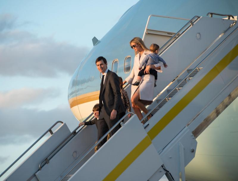 Ivanka Trump, daughter of US President Donald Trump, her husband Jared Kushner, senior adviser to Trump, and their children walk off Air Force One at Palm Beach International Airport in Florida: AFP/Getty Images