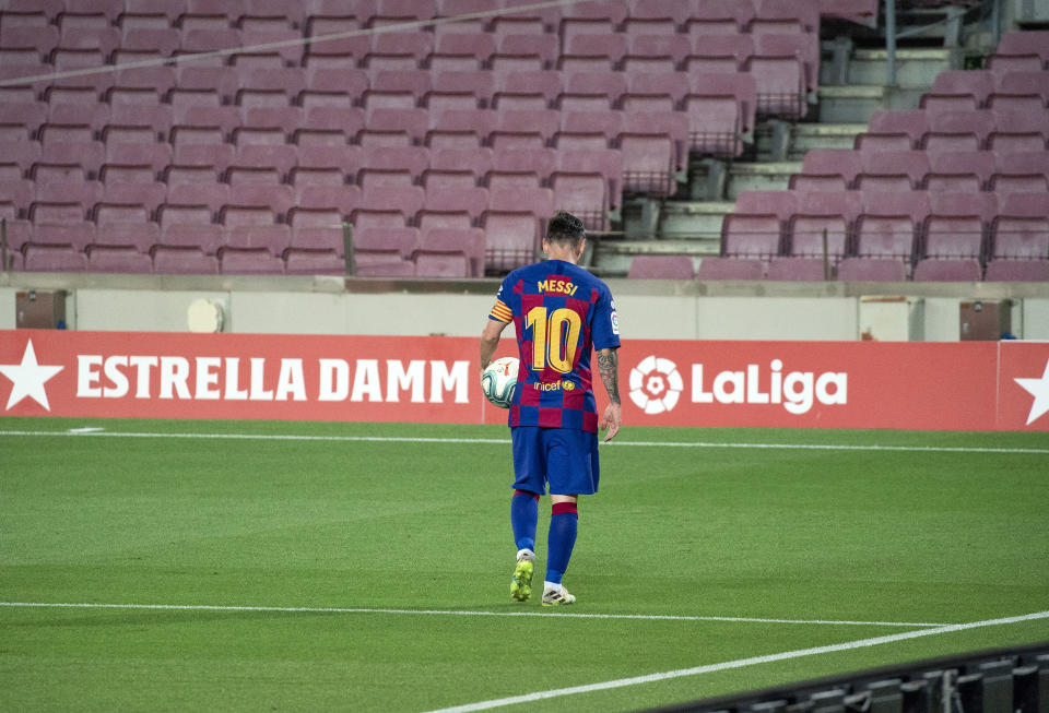 Leo Messi during the match between FC Barcelona and Club Atletico Osasuna, corresponding to the week 37 of the Liga Santander, played at the Camp Nou Stadium on 16th July 2020, in Barcelona, Spain.   -- (Photo by Urbanandsport/NurPhoto via Getty Images)