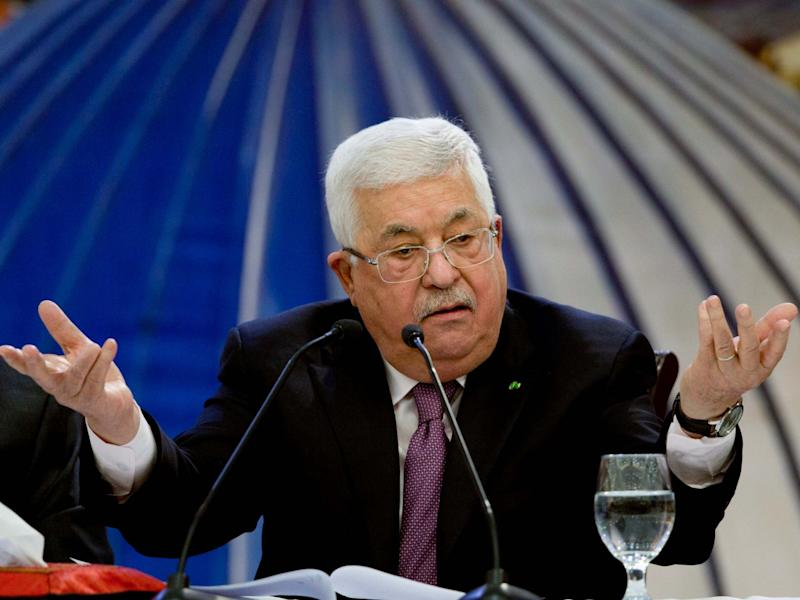 Palestinian president Mahmoud Abbas speaks after a meeting of the Palestinian leadership in the West Bank city of Ramallah, 22 January, 2020: AP