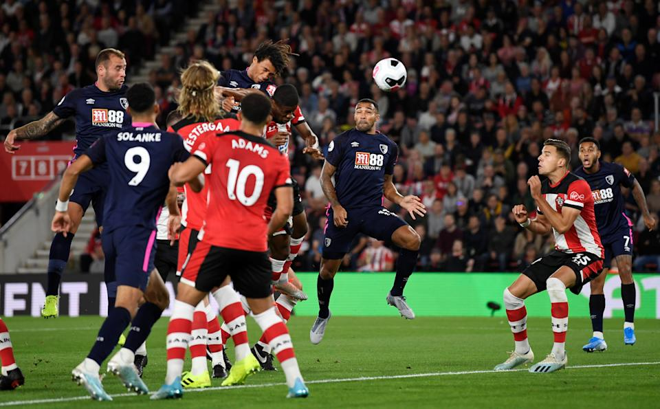 """Soccer Football - Premier League - Southampton v AFC Bournemouth - St Mary's Stadium, Southampton, Britain - September 20, 2019   Bournemouth's Nathan Ake scores their first goal       Action Images via Reuters/Tony O'Brien    EDITORIAL USE ONLY. No use with unauthorized audio, video, data, fixture lists, club/league logos or """"live"""" services. Online in-match use limited to 75 images, no video emulation. No use in betting, games or single club/league/player publications.  Please contact your account representative for further details."""