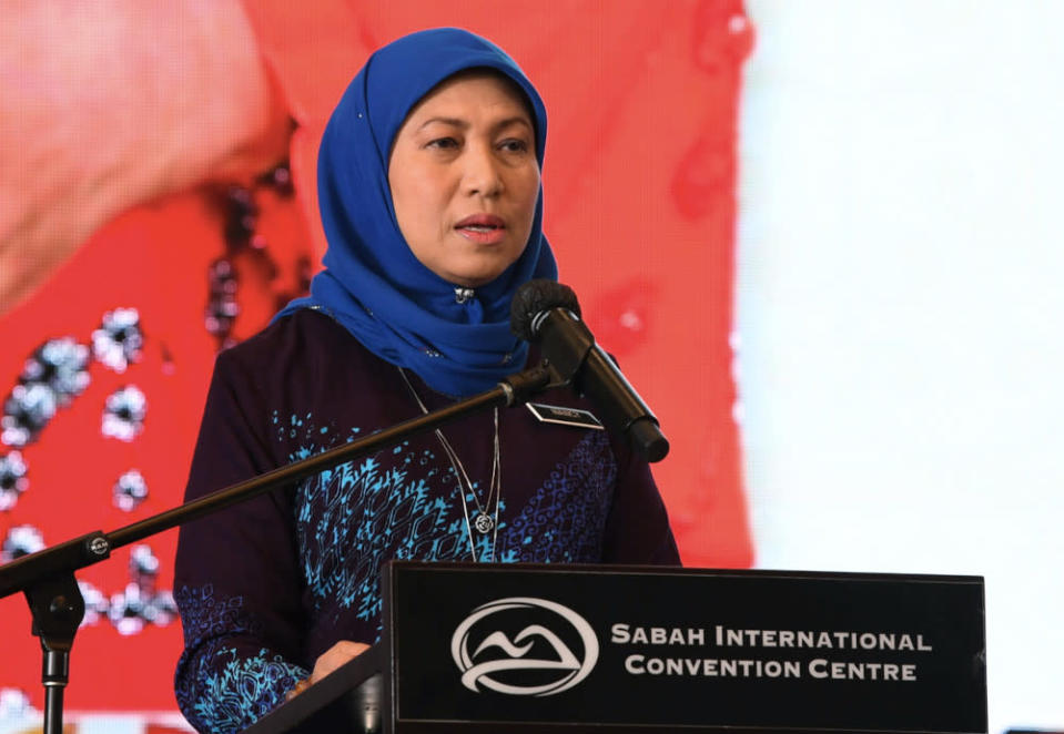Tourism, Arts and Culture Minister Datuk Seri Nancy Shukri gives a speech at the launch of the national tourism policy in Kota Kinabalu, April 22, 2021. — Bernama pic