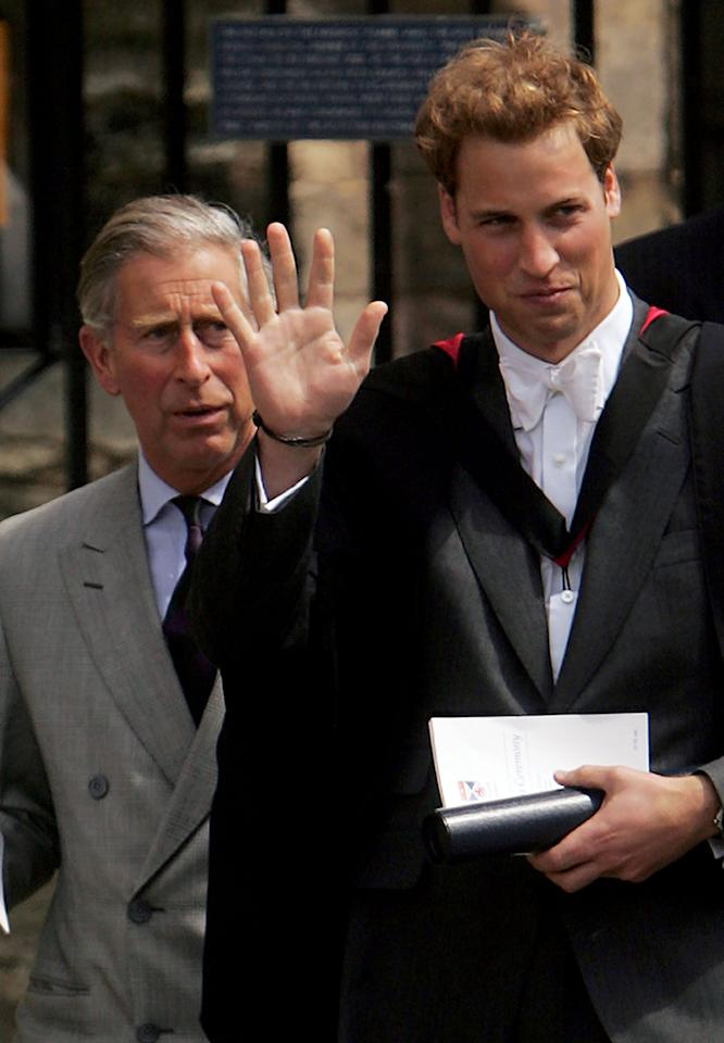 """<p>Prince William followed his father's lead and became the second direct heir to get a college degree. After a gap year, he attended The University of St. Andrews in Fife, Scotland; he graduated in 2005 with a 2:1 degree in geography. While at St. Andrews, he tried to live as normal a college life as possible, even living alongside other students - <a href=""""https://www.popsugar.com/celebrity/How-Did-Prince-William-Kate-Middleton-Meet-42654742"""" class=""""ga-track"""" data-ga-category=""""Related"""" data-ga-label=""""http://www.popsugar.com/celebrity/How-Did-Prince-William-Kate-Middleton-Meet-42654742"""" data-ga-action=""""In-Line Links"""">including his future wife, Kate Middleton</a>.</p>"""
