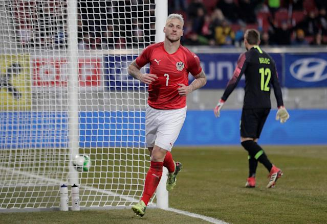 Soccer Football - International Friendly - Austria vs Slovenia - Worthersee Stadium, Klagenfurt, Austria - March 23, 2018 Austria's Marko Arnautovic celebrates scoring their third goal REUTERS/Heinz-Peter Bader