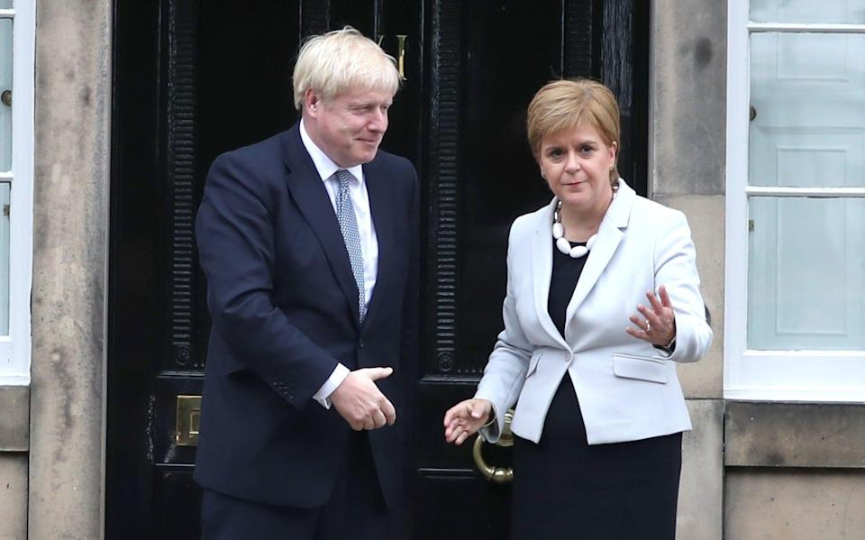 The last time Mr Johnson met Ms Sturgeon at Bute House in 2019, he was booed by a nationalist crowd and had to leave by a back door - Jane Barlow/PA Wire