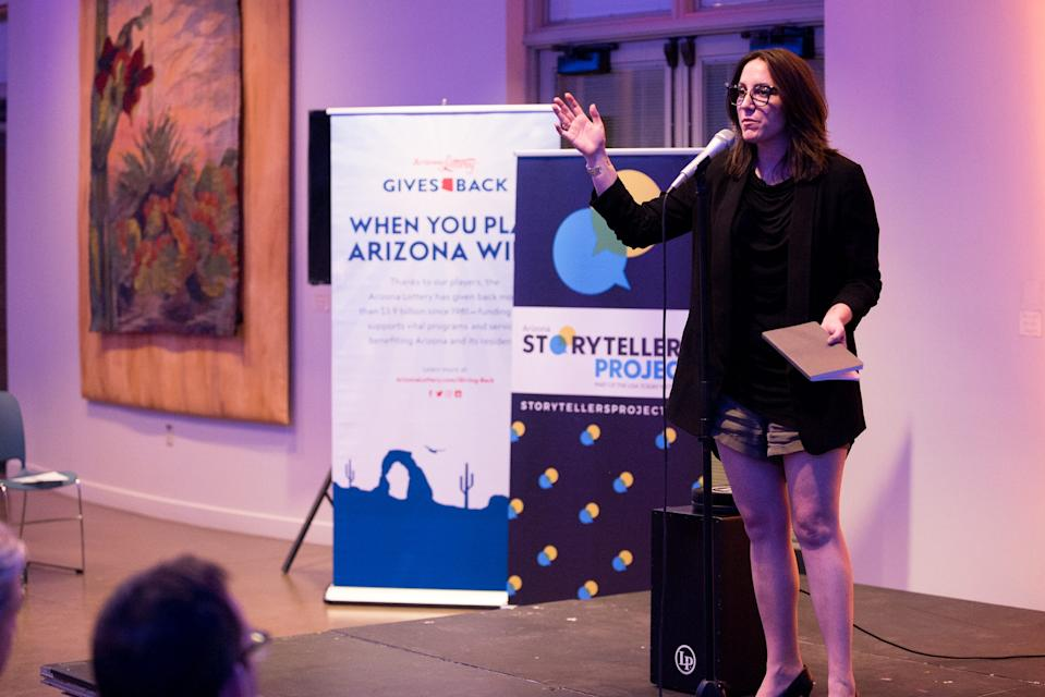Host Megan Finnerty warms up the crowd and introduces storytellers during Arizona Storytellers Project presents Searching at the Desert Botanical Garden in Phoenix on Thursday, Sep. 13, 2018.