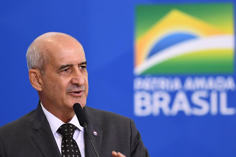 The new Head of the Secretariat of Government of the Presidency Luiz Eduardo Ramos gives speaks during his inauguration ceremony at Planalto Palace in Brasilia, on July 04, 2019. - Ramos replaces Carlos Alberto dos Santos Cruz in the Secreariat after some disagreements with of Bolsonaro's sons during his administration. (Photo by EVARISTO SA / AFP) (Photo credit should read EVARISTO SA/AFP via Getty Images)