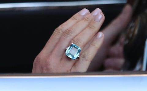 meghan markle wedding jewellery aquamarine ring - Credit: Steve Parsons/PA Wire