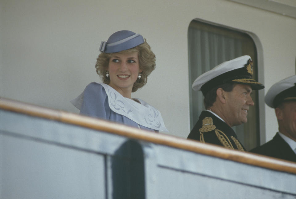 Diana, Princess of Wales  (1961 - 1997) on the royal yacht during a visit to Olbia in Sardinia, Italy, April 1985. She is wearing a Jan Van Velden suit and a hat by John Boyd. (Photo by Jayne Fincher/Princess Diana Archive/Getty Images)