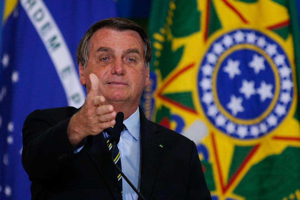 Brazilian President Jair Bolsonaro speaks during the 'Socio-environmental Actions and Adherence to the Adopt a Park Programme' event at Planalto Palace in Brasilia, on May 12, 2021. (Photo by Sergio Lima / AFP) (Photo by SERGIO LIMA/AFP via Getty Images)