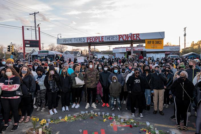 """Crowds gathered to honor Floyd following the guilty verdicts.<span class=""""copyright"""">Ruddy Roye for TIME</span>"""