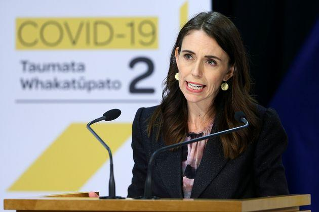 New Zealand Prime Minister Jacinda Ardern addresses a press conference after the 2020 budget at Parliament in Wellington, New Zealand, Thursday, May 14, 2020.