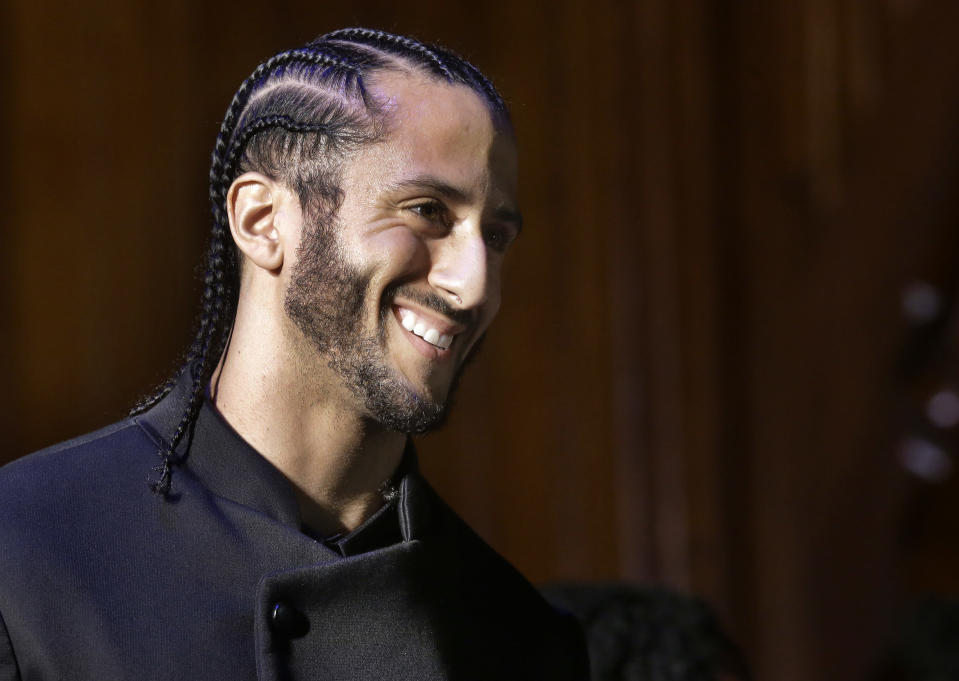 While accepting one of Harvard's highest honors on Thursday, Colin Kaepernick talked about why he chose to kneel. (AP)