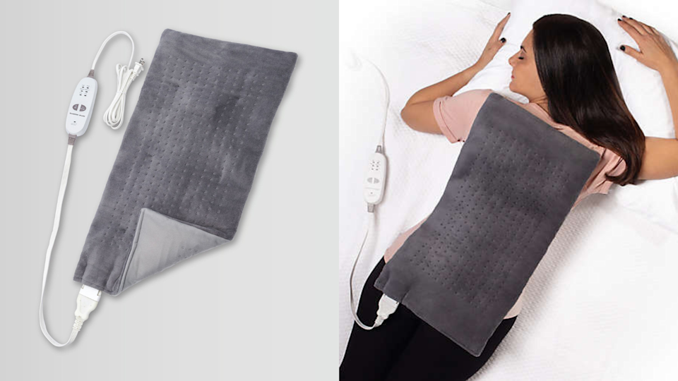 This weighted heating pad almost seems better than an actual back rub.