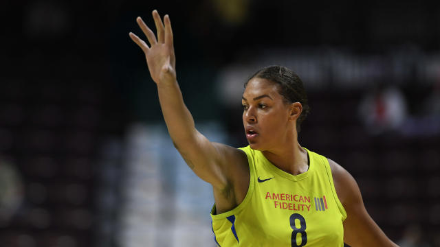 "<a class=""link rapid-noclick-resp"" href=""/wnba/teams/tul"" data-ylk=""slk:Dallas Wings"">Dallas Wings</a>' <a class=""link rapid-noclick-resp"" href=""/wnba/players/4840/"" data-ylk=""slk:Liz Cambage"">Liz Cambage</a> during a preseason WNBA basketball game, Tuesday, May 8, 2018, in Uncasville, Conn. (AP Photo/Jessica Hill)"