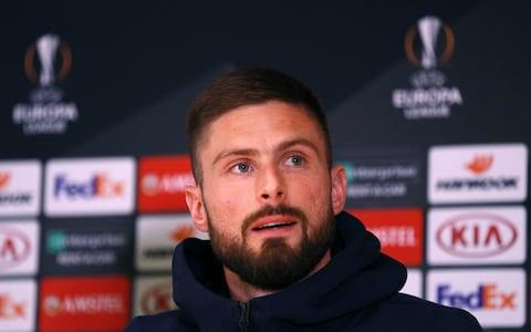 Chelsea's Olivier Giroud during the press conference at Stamford Bridge, London. PRESS ASSOCIATION Photo. Picture date: Wednesday April 17, 2019. - Credit: Ian Walton/PA