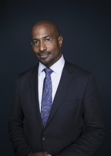 "In this April 28, 2017 file photo, Van Jones, host of ""The Messy Truth with Van Jones"" appears after an interview in New York. Jones is hoping to bolster his activist work by pairing with Jay Z's management firm Roc Nation. The pundit announced the affiliation Thursday, May 4. He hopes the company's expertise in cultural influence helps his work in green initiatives, getting poor youngsters involved in the tech sector and training prison inmates in media skills. (Photo by Taylor Jewell/Invision/AP)"