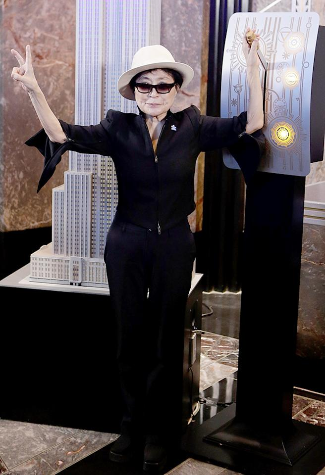 "NEW YORK, NY - APRIL 02:  Yoko Ono attends ""World Autism Awareness Day"" Celebration at The Empire State Building on April 2, 2013 in New York City.  (Photo by John Lamparski/WireImage)"