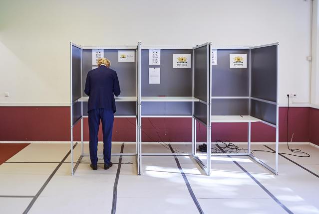 Geert Wilders, leader of the Dutch Party for Freedom, casts his ballot in the European elections in The Hague, Netherlands, Thursday, May 23, 2019. (AP Photo/Phil Nijhuis)