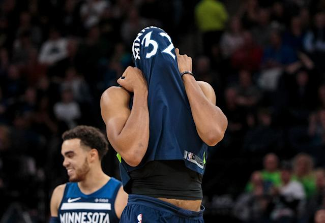Nov 26, 2017; Minneapolis, MN, USA; Minnesota Timberwolves center Karl-Anthony Towns (32) reacts to missing a shot in the third quarter against the Phoenix Suns at Target Center. Mandatory Credit: Brad Rempel-USA TODAY Sports TPX IMAGES OF THE DAY