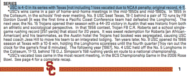 (USC game notes)