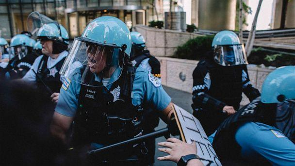 PHOTO: Protesters clash with police in Chicago, May 30, 2020, during a protest against the death of George Floyd. (Jim Vondruska/Zuma Press)