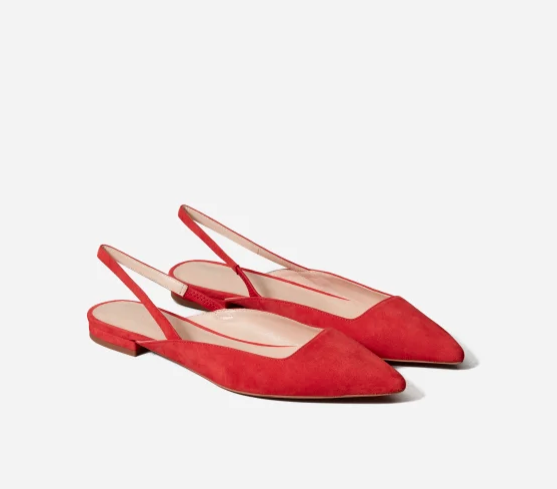 The Editor Slingback in Persimmon Suede.
