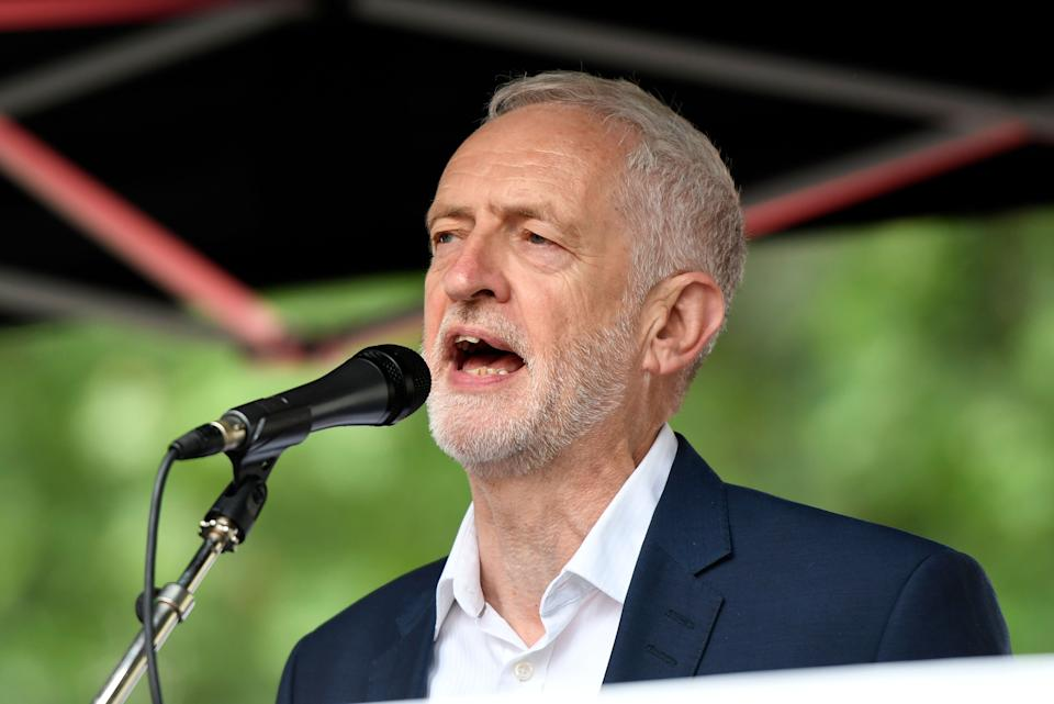 Labour leader Jeremy Corbyn speaks during the Anti-Trump protest in London. (Photo: SIPA USA/PA Images)