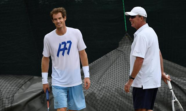 Andy Murray is put through his paces by his coach, Ivan Lendl, during a practice session.