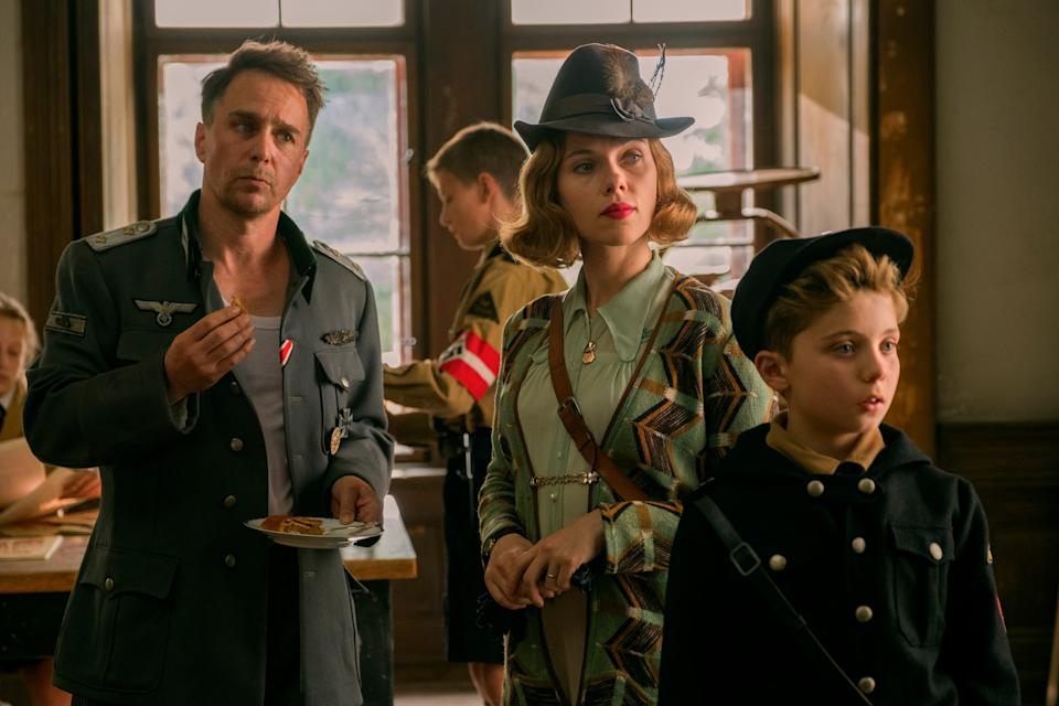 """Scarlett Johansson plays a German mother worried over her son's adoration of Hitler in the WWII satire """"Jojo Rabbit."""""""