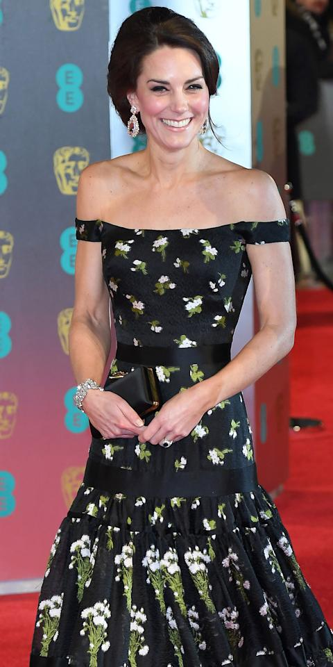 "<p><b>When:</b> February 12, 2017 <b>Where:</b> <a rel=""nofollow"">The BAFTA Awards </a><b>Wearing: </b>A bespoke Alexander McQueen dress and pear-shaped earrings. <b>Get the Look for Less: </b>Rebecca Minkoff Davis Cold Shoulder Maxi Dress, $198; <a rel=""nofollow"">bloomingdales.com </a>ASOS TALL Wrap Front Maxi Dress with Cold Shoulder in Mixed Print, $58; <a rel=""nofollow"">asos.com</a></p>"