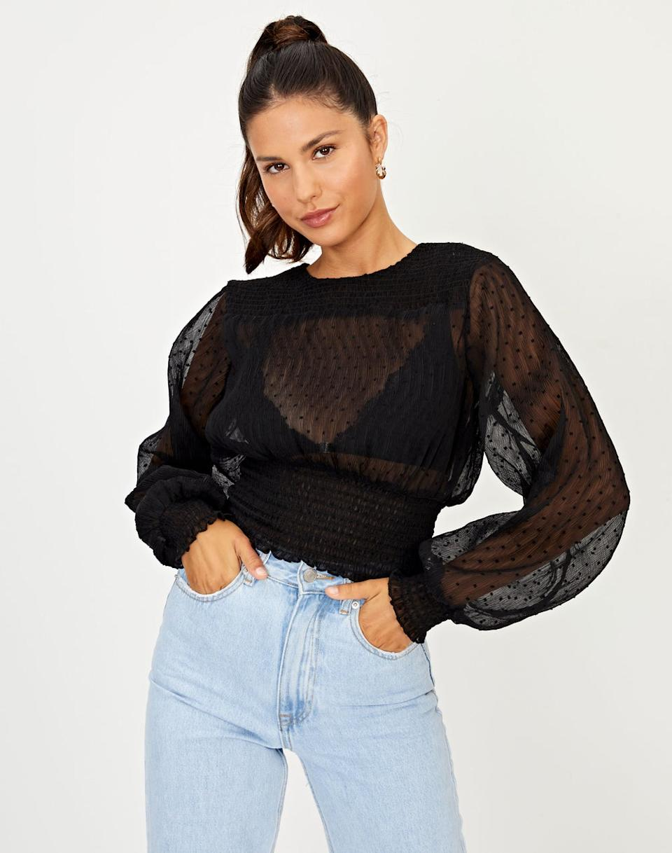 Glassons Textured Shirred Blouse, $29.99. Photo: Glassons.