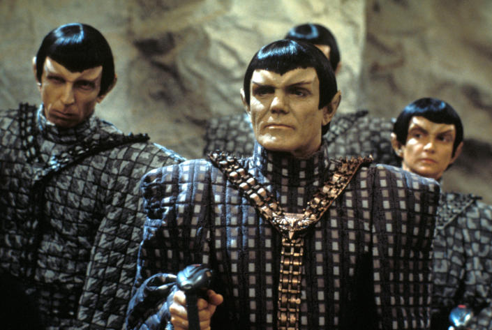 British actor Maurice Roeves (as a Romulan Captain) (fore) and several unidentified others in a scene from an episode of the television series 'Star Trek: The Next Generation' entitled 'The Chase,' California, April 26, 1993. (Photo by CBS Photo Archive/Getty Images)