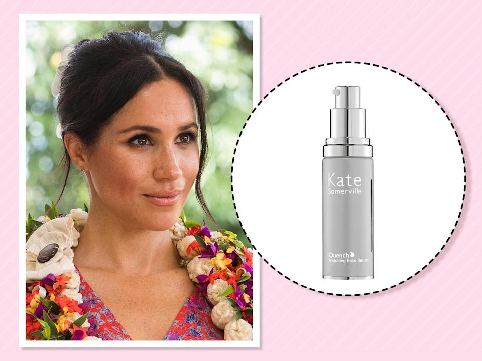 "<p>""I've been going to Kate's clinic in L.A. for facials for years,"" <a href=""https://beautybanter.com/banter-babe-meghan-markle"" rel=""nofollow noopener"" target=""_blank"" data-ylk=""slk:she told Beauty Banter"" class=""link rapid-noclick-resp"">she told Beauty Banter</a> about her go-to aesthetician at the time, Kate Somerville. Despite living in Toronto during her acting days, Markle said she continued to use Somerville's line to ""maintain that glow."" (Photo: Getty Images)<br><strong><a href=""https://fave.co/2DiqYOz"" rel=""nofollow noopener"" target=""_blank"" data-ylk=""slk:Shop it"" class=""link rapid-noclick-resp"">Shop it</a>:</strong> $75, <a href=""https://fave.co/2DiqYOz"" rel=""nofollow noopener"" target=""_blank"" data-ylk=""slk:ulta.com"" class=""link rapid-noclick-resp"">ulta.com</a> </p>"