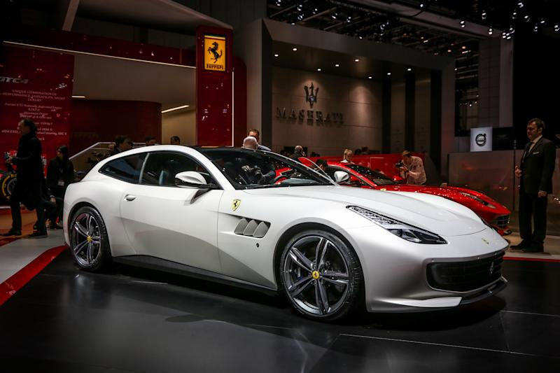 The Ferrari GTC4 Lusso on display at the 86th Geneva International Motorshow at Palexpo in Switzerland, March 2, 2016. (Photo by Gerlach Delissen/Corbis via Getty Images)