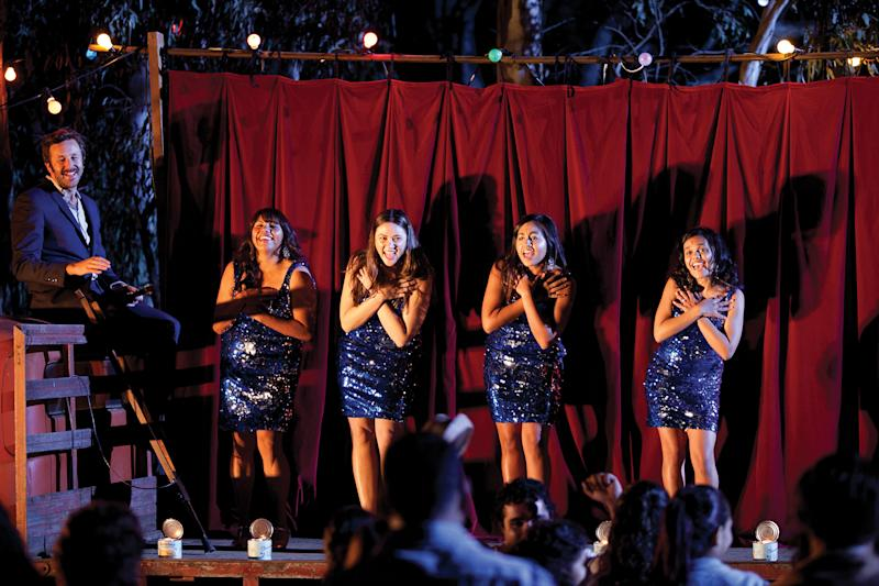 """This film publicity image released by The Weinstein Company shows, from left, Chris Dowd as Dave, Deborah Mailman as Gail, Shari Sebbens as Kay, Jessica Mauboy as Julie, and Miranda Tapsell as Cynthia in a scene from """"The Sapphires."""" (AP Photo/The Weinstein Company, Lisa Tomasetti)"""