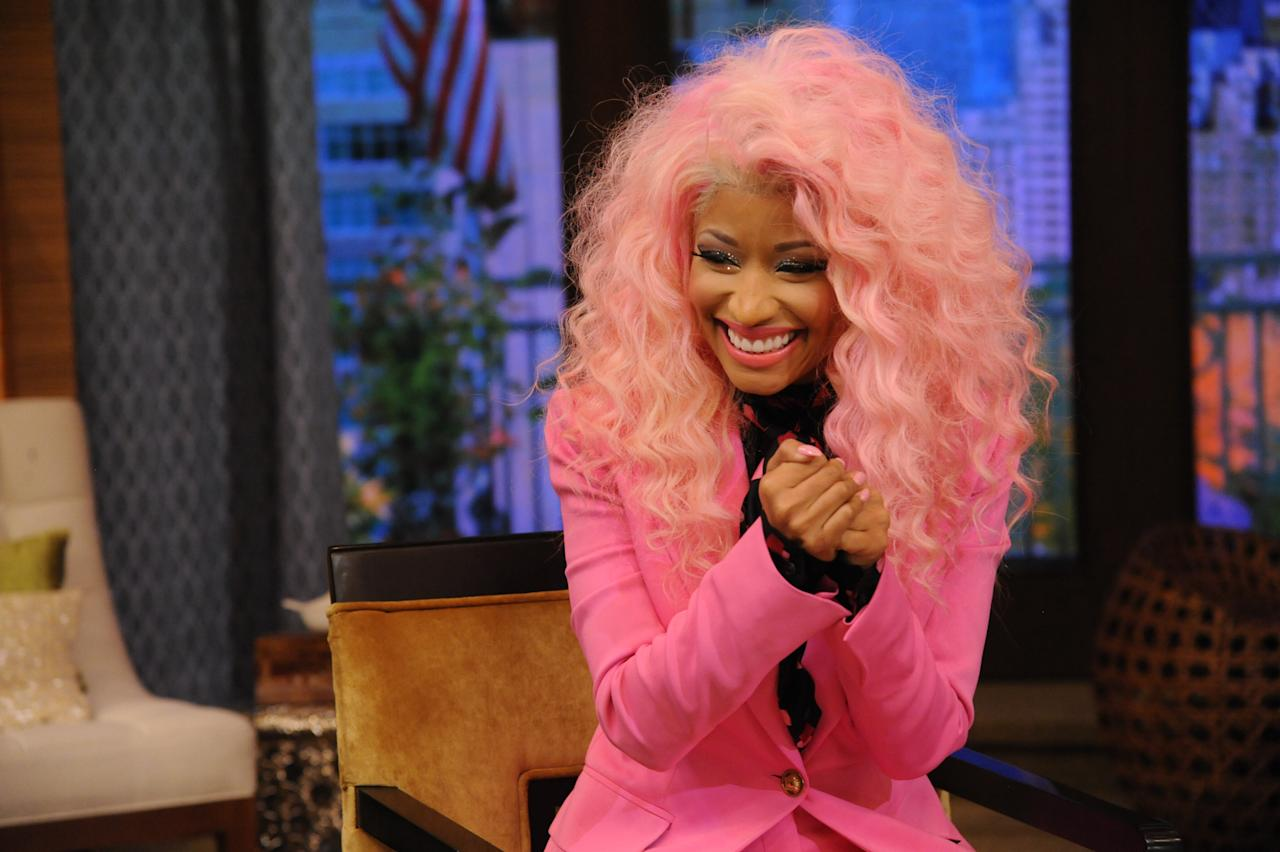 "Is that candy floss on your head or are you just glad to see us? Nicki wore a sugary sweet style on ""LIVE with Kelly and Michael."""